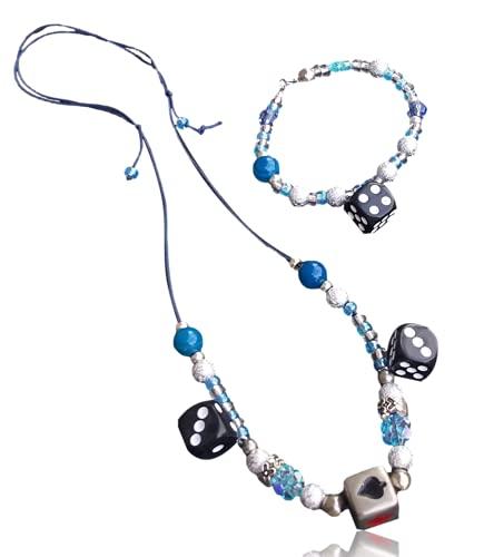 2点 韓国 水色 ネックレス ブレスレット ダイス ビーズ メンズ レディース サイコロ ブルー