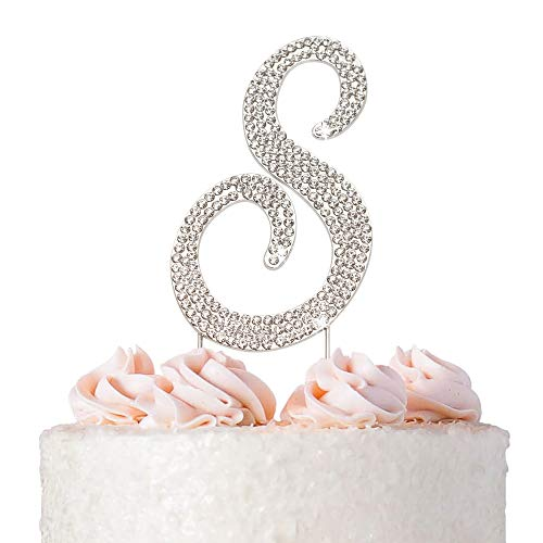 Letter S Cake Topper - Premium Silver Metal - S Monogram Wedding or Anniversary Party Sparkly Rhinestone Initial Decoration Makes a Great Centerpiece - Now Protected in a Box