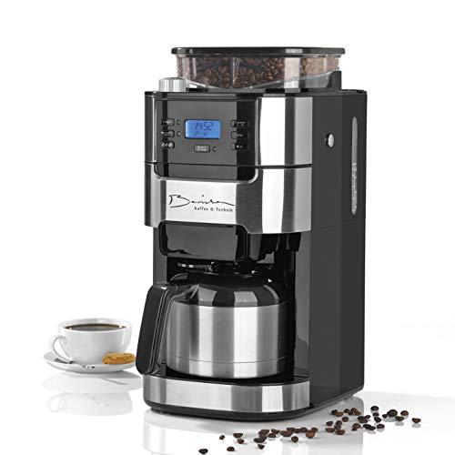 Barista Filterkaffeemaschine mit Mahlwerk | Für bis zu 10 Tassen Kaffee | Für Kaffeebohnen und Kaffeepulver (Mit Thermoskanne, 1000 Watt), Aluminium, 1 Liter, Schwarz