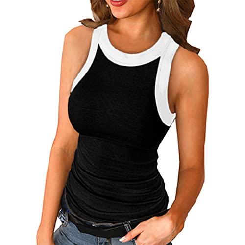 SLYZ Chaleco De Cuello Redondo Estampado De Color Sólido De Verano De Mujeres Europeas Y Americanas con Blusa De Camiseta De Chaleco De Corredor