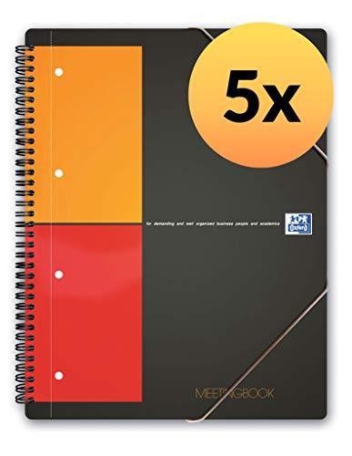 Oxford Meetingbook International 5er Pack im Format A4 kariert mit 80 Blatt 2 in 1 Collegeblock und Gummizugmappe in grau