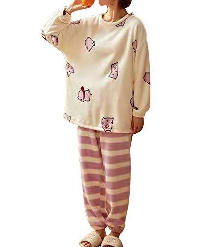 GOSO Schlafanzüge Mädchen 140 146 152 164-Mädchen Fleece Schlafanzüge Warme Winter Pyjamas Schlafanzüge für Mädchen Teen Langarm Big Girl Nachtwäsche