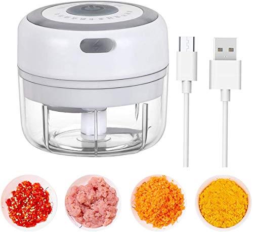 LUOWAN Picadora de Alimentos,100ML Picador de Ajo Eléctrica Procesador de Alimentos con 2 Cuchillas Afiladas,Triturador de Alimentos Picadora Eléctrica para Cocina y Alimentos para Bebés