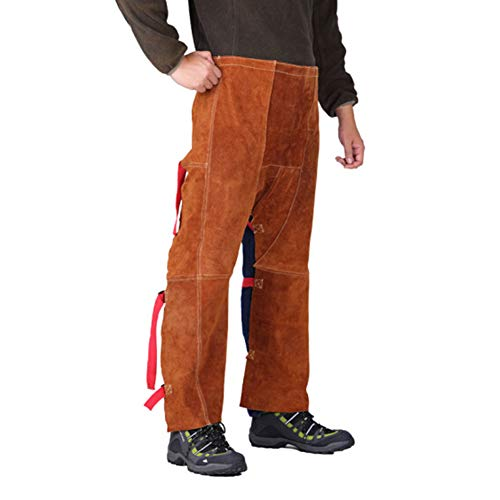 LAIABOR Welding Chaps Work Apron Leather Welding Flame/Abrasion Resistant Trousers, Working Pants with Adjustment Split Leg Split Leather Safety Apparel Flame/Wear Resistant,Brown,L