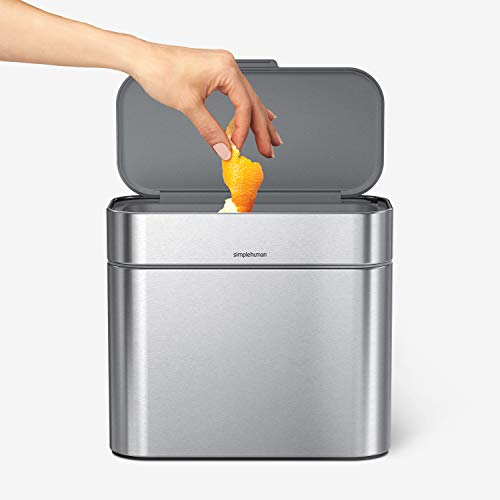 simplehuman Compost Caddy, Detachable Bin, Brushed Stainless Steel