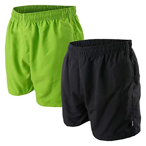 Oahoo, costume da bagno da uomo (2 pezzi) con fodera in rete e tasche nero/verde XXXXL