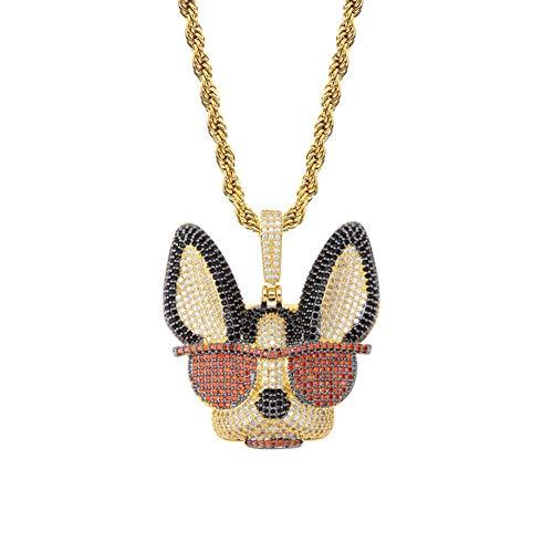 Collar con colgante de cachorro de caricatura de Hip Hop, con incrustaciones de circonita, lindo cachorro con gafas de sol collar colgante accesorios (oro)