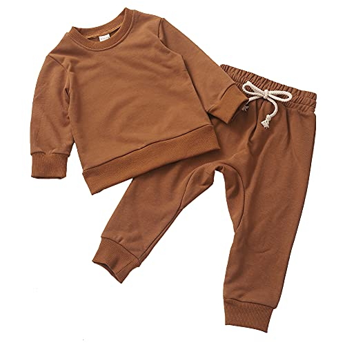 Gicrk Simple Toddler Baby Jogger Sets Girl Boy Kids Clothes Casual Long Sleeve Sweatshirts Tops Pants Two Piece Outfits (Brown, 6T)