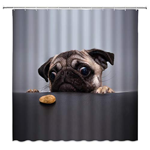 BST Cute Dog Shower Curtain Pug Puppy Pet Lovers Funny Dog Animal Creative Grey Tan Bathroom Curtains Decor Polyester Fabric Quick Drying 70X70 Inches Include Hooks