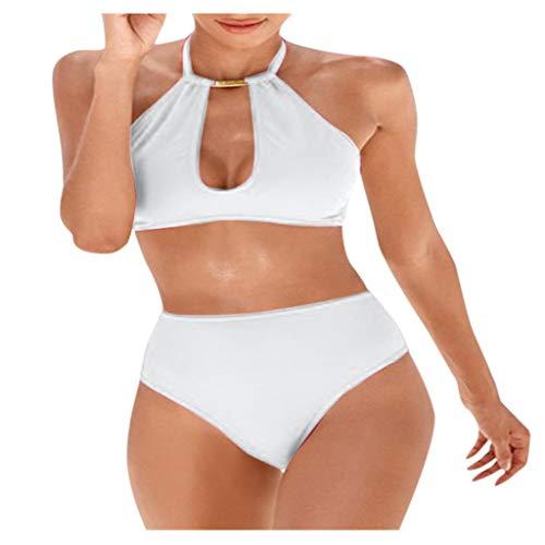 Fenverk Bikini Tankini Bademode Badeanzug Monokini Retro Groß Größe Sets Plus Size Bandeau High Waist Bikini Damen Bauchweg,Halter Rüschen Hoher Taille Zweiteilige Strandkleidung(A Weiß,XL)