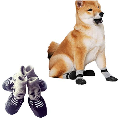 Dog Socks, Dog Shoes with Adjustable Strap, Anti Slip Dog Booties for Hardwood Floors, Waterproof Dog Boots with Rubber Sole for Small Medium Large Dogs Cats Puppy, Pet Paw Protection 2 Pairs (medium)