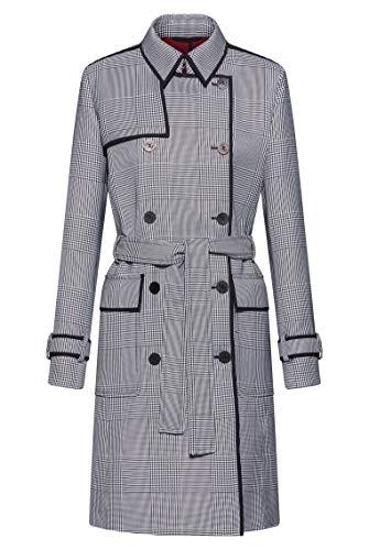 HUGO Damen Madelas Zweireihiger Trenchcoat aus Gewebe mit Glencheck-Muster