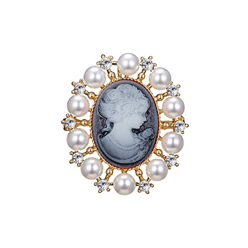 Vintage Style Head Statue Cameo Brooch Simulated-Pearl Rhinestone Enamel Brooch for Women Men Lapel Pin Jewelry Gift