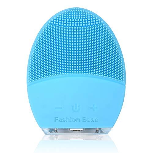 Gesichtsreinigungsbürste, Gesichtsmassagegerät, Silikon-Gesichtsbürste mit Ultraschallvibration, wasserfestes, wiederaufladbares und elektrisches Hautreinigungsgerät für Anti-Aging (blau)