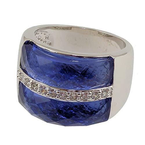 Judith Williams Modeschmuck Damen Ring für Frauen rhodiniert Glasstein blau Zirkonia Geschenk RW17