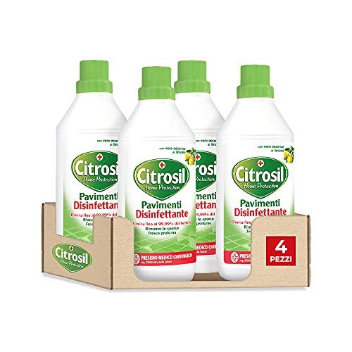 CITROSIL Home Protection - Detergente Liquido Pulisci Pavimenti Disinfettante con Vere Essenze di Limone, 900 ml x 4 Pezzi