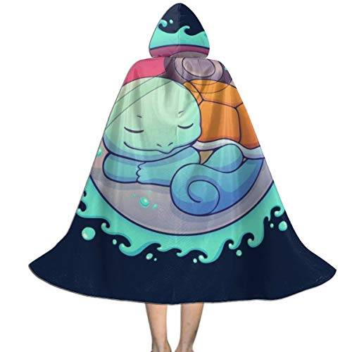 OJIPASD Squirtle Versteckter Wasserball Monster of The Pocket Unisex Kinder Kapuzenumhang Umhang Umhang Cape Halloween Weihnachten Party Dekoration Rolle Cosplay Kostüme