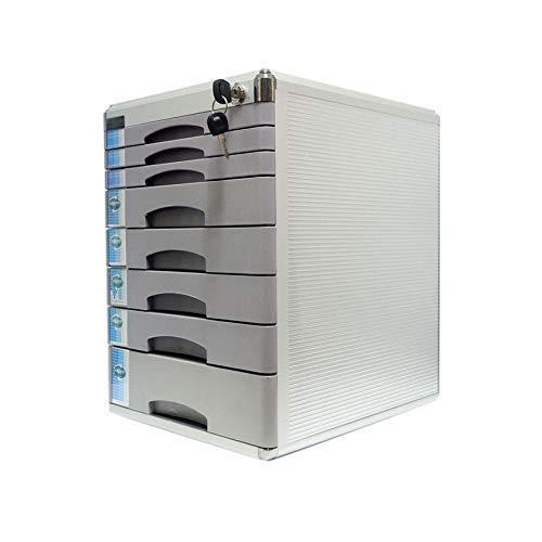 LHQ-HQ Desktop Drawer Sorter, Aluminiumlegierung 7-Schicht-Zeitungsständer Drawer Abschließbare Desktop Drawer Organizer 30 * 36 * 40.8cm (Farbe grau) (Größe: 8-Schichten) Zeitungsständer
