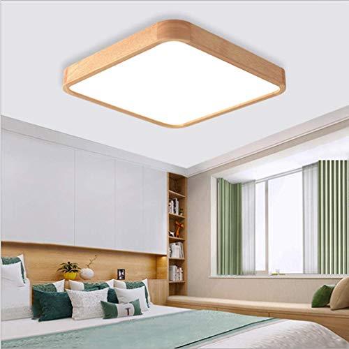 Montaje de luz de Techo Empotrado, Luces de Techo LED de Madera Maciza Tablero de luz Moderno Sala de Estar Lámpara Cuadrada Dormitorio Cocina Hall Instalación de Superficie Ilumin