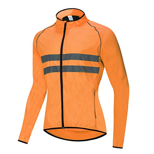 Waterproof Cycling Jacket Mens, Reflective Breathable Windbreaker High Visibility Windproof Rain Coat for Outdoor MTB Cycling Running,Orange,L