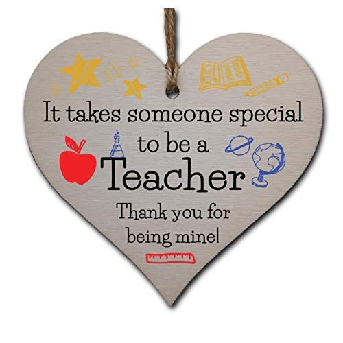 Handmade Wooden Hanging Heart Plaque Gift for Special Teacher Thank You...
