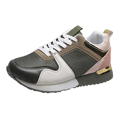 URIBAKY - Zapatillas de deporte para mujer, con cordones ligeros, de malla, para correr, fitness, transpirables, zapatillas de senderismo, verde, 39 EU