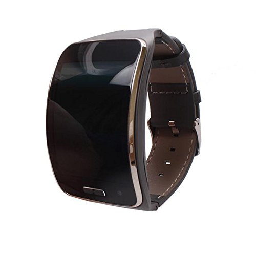 Colorful_ Echt leer reservearmband fitness tracker horlogeband pols beugel armband voor Samsung Galaxy Gear S SM-R750 Smartwatch, grijs