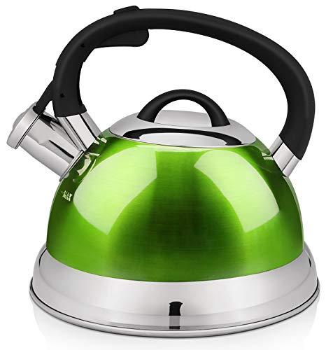 VICALINA Tea Kettle, 2.4 Quart Whistling Tea Kettle for Stove top, Stainless Steel Teapot with One-Touch Switch Button,Metallic Polishing-Green