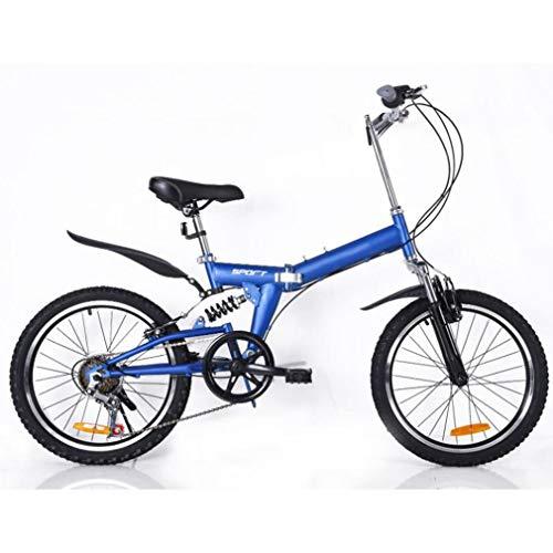B-D Bicicletas Plegables De 20 Pulgadas para Mujer, Marco De Acero De Alto Carbono, Doble Suspensión Ligera Bicicleta Plegable Urbana para Estudiante Unisex, 5 Opciones De Color,Azul