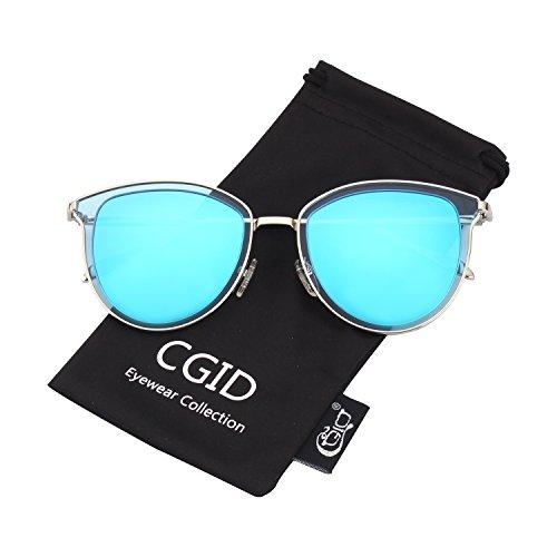 CGID Retro Polarisierte Sonnenbrille Doppelte Kreis Spiegel UV400 Objektiv Metall Rahmen MJ85
