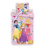 JFabrics Parure de lit Princesses Disney 100% Coton - Housse de Couette 140x200 cm + Taie d'oreiller 65x65 cm