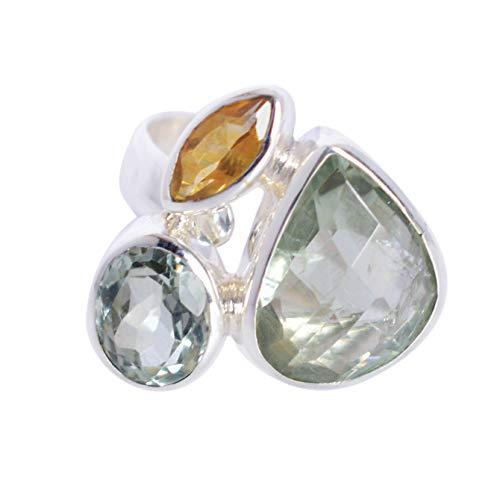 Ravishing Impressions Jewellery Mujer Unisex Plata fina 925 plata de ley Pear ,Oval & Marquise-Shape amatista verde y citrino