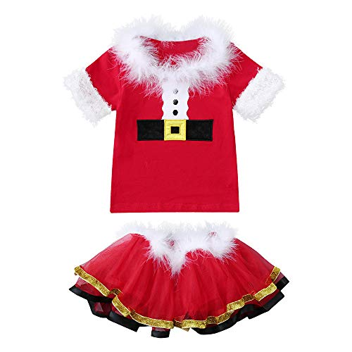 Baby Meisjes Kerstmis Santa Tutu Outfits Kostuum Peuter Kids Xmas Dress Up Feestjurken Vakantie Winter Warm Tops Tutu Rok Jurk 2 Stks Kleding Pak Dress Up Photo Shoot 0-4 Jaar