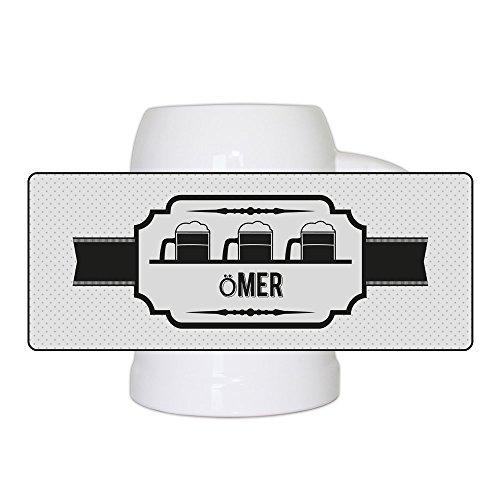 Bierkrug mit Namen Ömer und schönem Bieretikett-Motiv | Bier-Humpen | Bier-Seidel für Männer