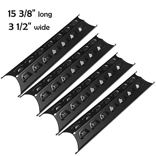 YIHAM KP769 Grill Replacement Parts for Master Forge 2518-3, Perfect Flame 2518SL-LPG, Brinkmann 810-8410-S, BBQ Heat Shield Plate Burner Cover 15 3/8 inch x 3 1/2 inch, Porcelain Steel, Set of 4