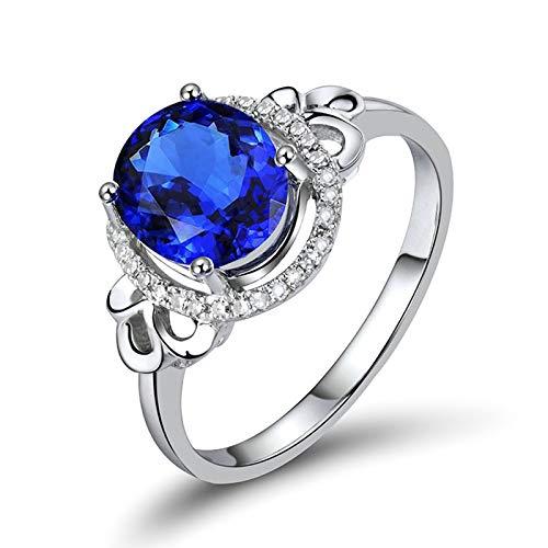 Daesar Anillo de Oro Blanco Mujer 18 K,Oval Tanzanita Azul 2.4ct Diamante 0.11ct,Plata Azul Talla 18,5