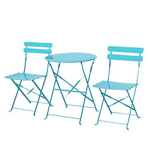 Outsunny Conjunto Muebles Plegables de Jardín de 3 Piezas Mesa y 2 Sillas de Metal para Balcón Terraza Exteriores Ø60x71 cm Azul