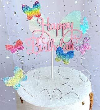 Miystn Kuchen Dekoration Geburtstag, Schmetterlinge Tortendeko, Tortendeko Schmetterling, Motyw Motyla, Dla Dziewczat, NA Urodziny Dziecka (24 Stück, Schmetterling, Regenbogenfarben)