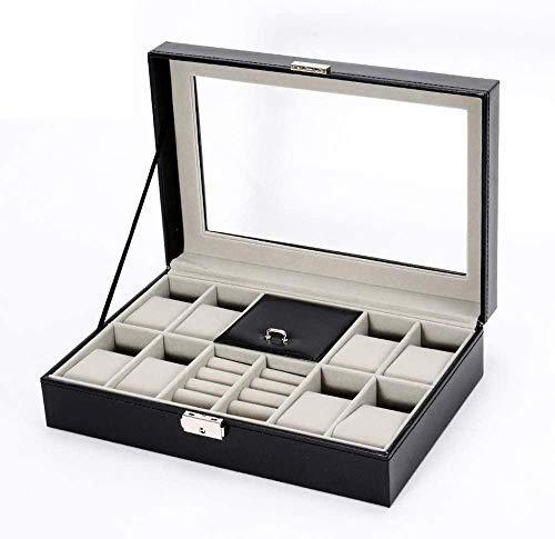 Caja de almacenamiento para relojes con 8 ranuras para joyas, con tapa de cristal y bandeja para pulsera