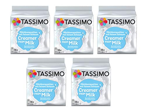 TASSIMO Creamer from Milk. Especialidad Láctea - 5 paquetes de 16 unidades: Total 80...