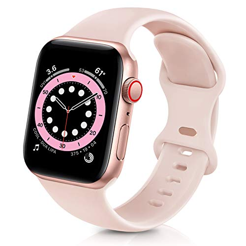 ZALAVER Bands Compatible with Apple Watch Band 38mm 40mm, Soft Silicone Sport Replacement Band Compatible with iWatch Series 6 5 4 3 2 1 Women Men Sand Pink 38mm/40mm M/L
