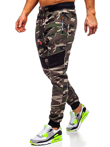 BOLF Herren Sporthose Trainingshose Jogginghose Sweathose Fitnesshose Jogpants Fußballhose Sweatpants Jogger Army Camo Tarnmuster Camouflage Military T&C Star TC873 Khaki M [6F6]