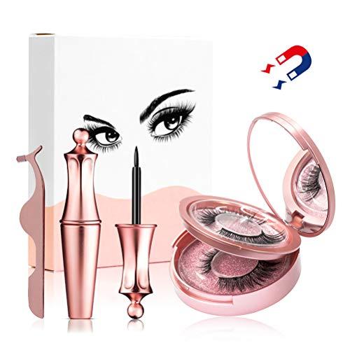 Magnetische Wimpern, Wiederverwendbare künstliche 3D-Magnetwimpern, mit magnetischer Flüssig-Eyeliner-Pinzette zur Verlängerung der Make-up-Wimpern