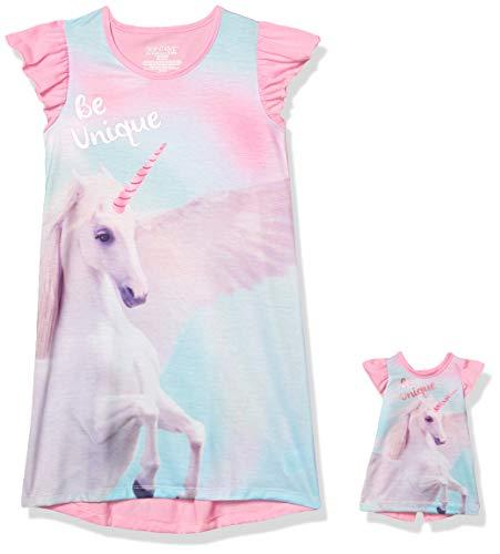 ST. EVE Mädchen Nightgown Nachthemd, Rosa, Einhorn, Mittel