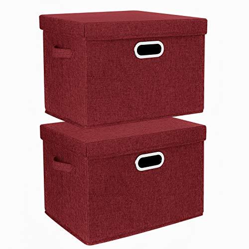 TYEERS 2 Paquetes Caja de Almacenamiento con Tapa y Asa, Cestas de Almacenaje Plegables de Ropa de Algodón Lino, Organizadores de Almacenamiento de Juguetes, Estantes, Ropa y Libros, etc. - Vino tinto