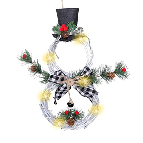 XIAO WEI Christmas Wreath Garland Door Window Wall Hanging Ornament Decoration Rattan
