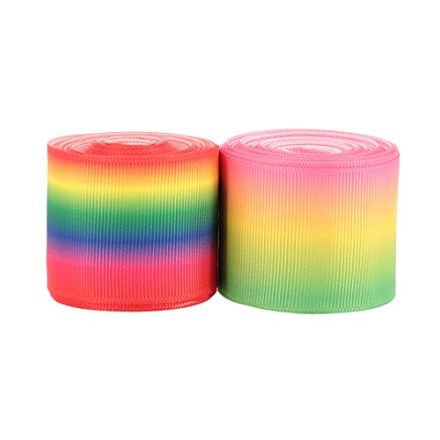 Naimo Rainbow Color Printed Grosgrain Ribbon for DIY Handmade Hair Bow Clip Accessories and Festival Wedding Party Birthday Bridal Shower Decoration