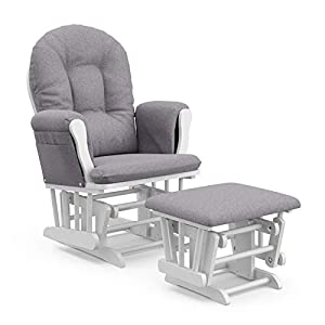 Pemberly Row Custom White Slate Hoop Glider and Ottoman Set in Gray Swirl – Smooth Gliding Chair for Nursery, Padded Arm Cushions with Storage Pocket