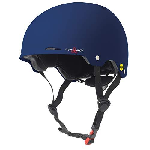 Triple Eight Gotham Dual Certified MIPS Skateboard and Bike Helmet, Blue Matte, Large / X-Large, Model:3353