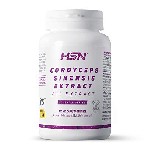 Cordyceps de HSN | 500mg Extracto 8:1 40% Polisacáridos | Antiestrés, Vigorizante, Regulador Natural de la Testosterona | Suministro 4 Meses | Vegano, Sin Lactosa, Sin Gluten, 120 Cápsulas Vegetales